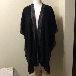 BNWT Step in style poncho black with silver accent